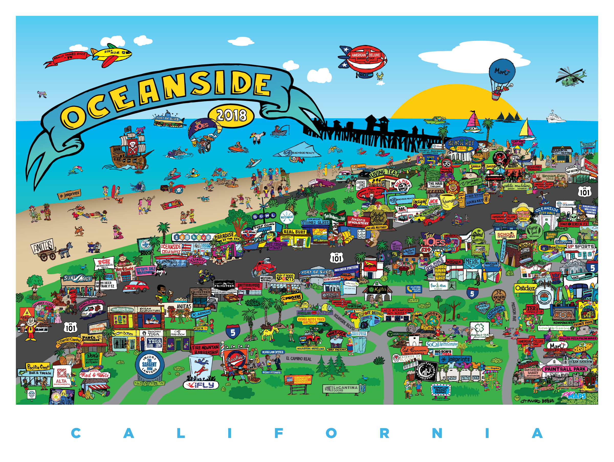 Oceanside Maps – An illustrated map capturing the essence of ... on ocean beach ca, ocean side or, the ocean house in oceanside ca,